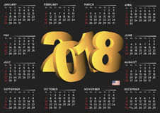 2017 black calendar english horizontal USA Royalty Free Stock Photography