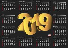 2019 black calendar english horizontal USA Royalty Free Stock Image