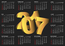 2017 black calendar english. 2017 black calendar in english. Year 2017 calendar. Calendar 2017. Week starts on sunday Stock Image