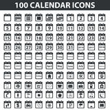 Black calendar icon set Stock Photography