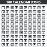 Black calendar icon set Stock Photography