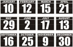 Black calendar icons. Isolated on white background Stock Images
