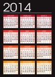 Black 2014 calendar. Black and orange 2014 calendar Stock Image