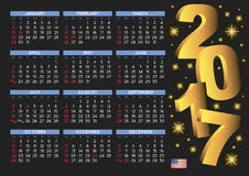 2017 black calendar USA festive days. 2017 black calendar in english with USA festive days. Year 2017 calendar. Calendar 2017. Week starts on sunday Stock Photo