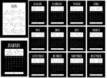 Black calendar for 2018 year. Zodiac constellations. Calendar for 2018 year. Week starts on monday. Calendar with the image of the zodiac constellations, graphic Stock Photos
