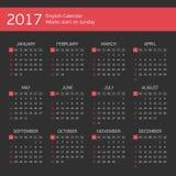 Black calendar for 2017 years. Royalty Free Stock Photos