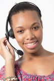 Black call center agent talk to client Royalty Free Stock Image
