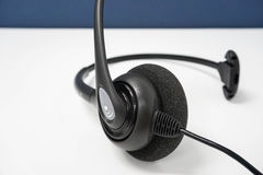 Black call center headset for customer service Royalty Free Stock Image