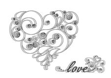 Black calligraphic heart with shadow and love word on the white background Royalty Free Stock Photos