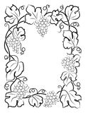 Black calligraphy frame wine label vine grapes Royalty Free Stock Photography