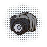Black camera comics icon Royalty Free Stock Photos