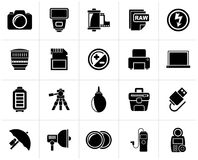 Black Camera equipment and photography icons. Vector Icon Set royalty free illustration