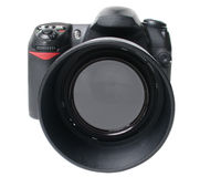 Black camera front Royalty Free Stock Photos