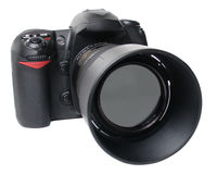 Black camera front right Royalty Free Stock Images