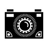 Black camera icon, simple style. Black camera icon in simple style on a white background vector illustration Royalty Free Stock Photo