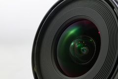 Black camera lens front isolated on white background Royalty Free Stock Images