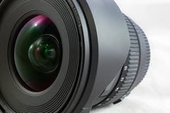 Black camera lens isolated on white background closeup Royalty Free Stock Photos
