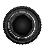 Black camera lens open icon Royalty Free Stock Images