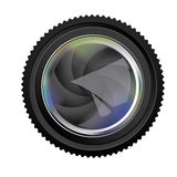 Black camera lens semi closed icon Royalty Free Stock Images