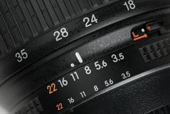 Black camera lens surface. Closeup Royalty Free Stock Images