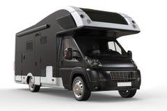 Black camper van - front view closeup shot Stock Photo