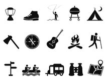 Black camping icons set Royalty Free Stock Photos