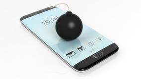 Black cannonball bomb on smartphone screen Stock Image