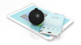 Black cannonball bomb with smartphone and tablet Stock Images