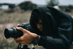 Black Canon Dslr Camera on Hand Stock Photos