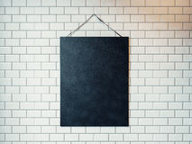 Black canvas hanging on the wall decorated with white tiles. 3D Stock Photo