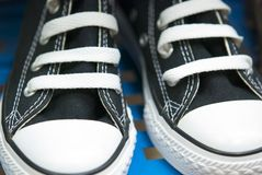 Black Canvas High Top Sneakers Royalty Free Stock Images