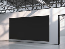Black canvas in modern gallery interior. 3d rendering Royalty Free Stock Photos