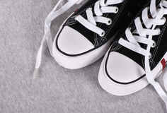 Black canvas sneakers Stock Photo