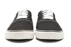 Black canvas sneakers Stock Photography