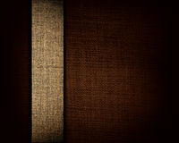 Black canvas texture and beige strip as background stock images