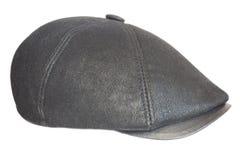Black cap. Black leather cap on a white background Stock Photo