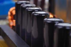 Black capacitors Stock Image