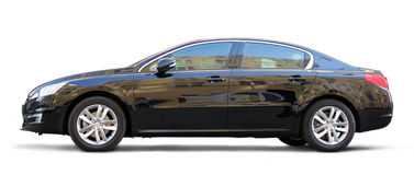 Black Car. Stylish business black car side view on white background Royalty Free Stock Image