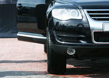 Black car on the parking. A black car on the parking Royalty Free Stock Photo