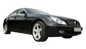 Black car. Black Mercedes, isolated black car on a white background. Powerful German coupe Royalty Free Stock Photo