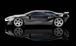 Black car. Concept coupe. 3D image royalty free illustration