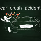 Black Car crash Side collision by chalk Royalty Free Stock Image