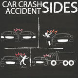 Black Car crash Side collision by chalk Stock Photo