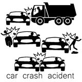 Black Car crash Side collision. Icon for car crash acident on Side collision stock illustration