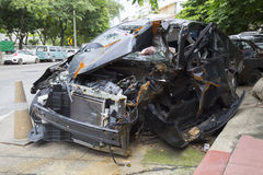 Black car crashed accident on road. Royalty Free Stock Photos
