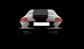 Black car. 3D rendering of a black car on a black background Stock Photo