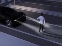 Black car emergency braking avoid car accident from pedestrian walking cross road at darkness. Automatic Emergency Braking Emergency brake system concept. 3D stock illustration