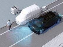 Black car emergency braking to avoid car accident with pedestrian who using smartphone. Automatic Emergency Braking Emergency brake system concept. 3D royalty free illustration