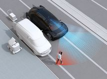 Black car emergency braking to avoid car accident with pedestrian who using smartphone. Automatic Emergency Braking Emergency brake system concept. 3D stock illustration