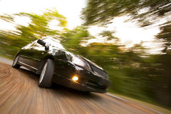 Black car fast moving. Black automobile drifting on hight speed Stock Image
